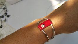 Bracelets esclave , jonc plein et cuir véritable et argent 950
