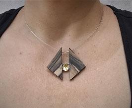 Collier triangles d'ébène de Macassar et citrine sur argent massif , piece unique