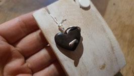 pendentif cœur gothique noir en Ébène et serpents en argent 950, le pendentif seul