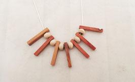 """Collier """"SOLEIL""""  RAKU /bois de rose , perles ceramiques, bois precieux et argent massif"""