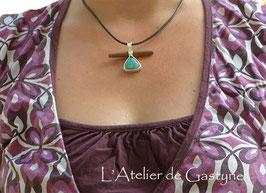 """Collier """"MAGIE"""",unique, lignum vitae et turquoise du Tibet"""