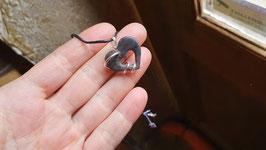 cœur gothique noir en Ébène et serpents en argent 950