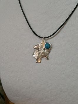 collier argent massif, APOCALYPSE 2, Croix de savoie fondue et turquoise