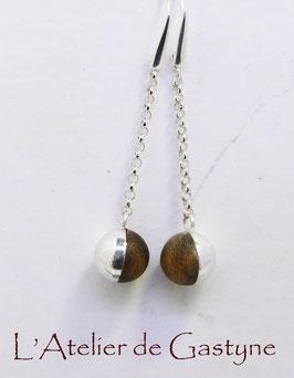 boucles d'oreilles boules argent et bois precieux