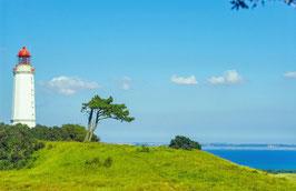 Leuchtturm Dornbusch und Blick auf die Ostsee, Hiddensee, Briefkarte