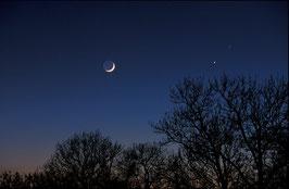 Junger Mond und Sterne , Briefkarte
