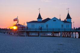 Sonnenuntergang an der Seebrücke Ahlbeck, Briefkarte