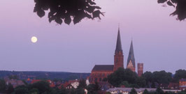 Mondaufgang über Lüneburg, St. Nicolai- Kirche, St. Johannis- Kirche, Wasserturm