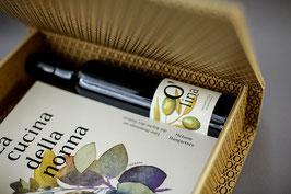 Geschenksbox mit Buch und Olivenöl