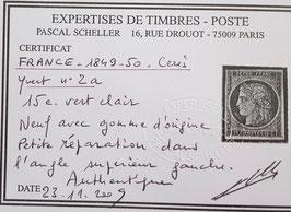 LOT #1 FRANCE timbre ceres n°2 a * gomme d'origine certificat Scheller