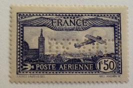N°6c. P.A. 1 f. 50 outremer, avion survolant Marseille