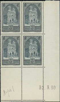 LOT #8 FRANCE coin daté 32.3.1930 Cathédrale de Reims timbre n°259 erreur de date **