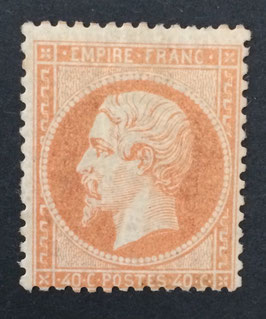 Timbre n°23 * Empire dentelé 40 centimes orange signé TB