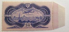 N°15 P.A. 50 f. outremer, burelé avion survolant Paris