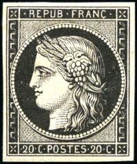 Variété sur le 1er timbre émis par la France: timbre référence Yvert & Tellier n°3 Céres variété impression recto-verso *, signé