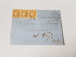 Lettre affranchissement Septembre 1871 bande de 3 timbres n°43B