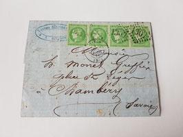 Lettre affranchissement bande de 4 timbres n°42 bordeaux pour Chambéry (Savoie)