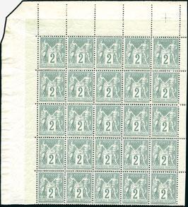 Bloc de 25 timbre sage n°74 ** MNH croix de repère bord de feuille RR