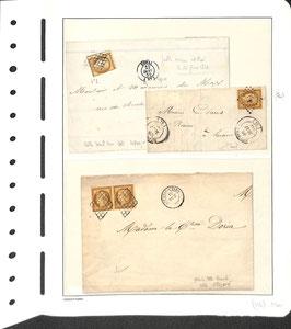 Lot de 3 lettres timbres Ceres n°1 dont une avec affranchissement paire, usage tardif ++