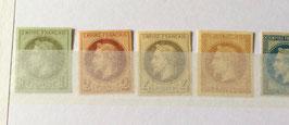 Série complète des 8 timbres non dentelés Empire Lauré dits de Rothschild