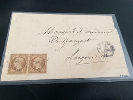 Lettre affranchissement paire timbres référence Yvert & Tellier n°9, signé Maury TB