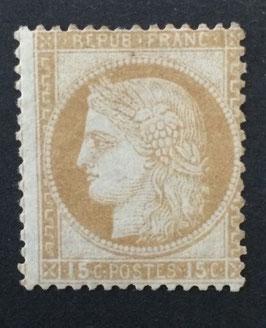 Timbre référence Yvert & Tellier n°55 * Cérès dentelé 15 centimes gros chiffres, signé, TB