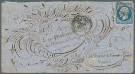 """Lettre illustrée thématique """"fleurs"""" timbre Empire non dentelé n°14 20 centimes bleu, signé Roumet"""