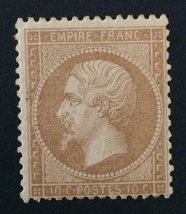 Timbre n°21 * Empire dentelé 10 centimes bistre signé Brun TB