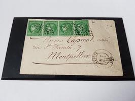 Lettre affranchissement bande de 4 timbres n°42 bordeaux pour Montpellier