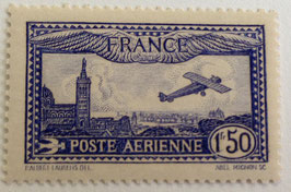 N°6 P.A. 1 f. 50 outremer vif, avion survolant Marseille