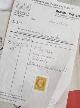 LOT #2 FRANCE timbre émission Présidence n°9 * défauts signé + certificat Calves