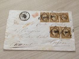 Lettre affranchissement timbres Yvert & Tellier n°1 Ceres x5 pour l'Italie (Piémont)