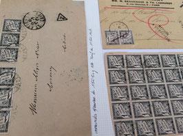 LOT #254 FRANCE 3 lettres taxe DUVAL bloc militaire Martinique & tarif imprimé