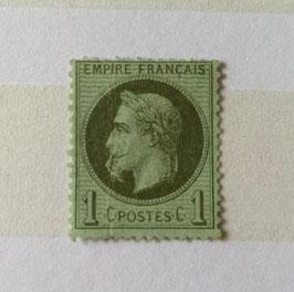 Timbre n°25b Empire Lauré variété à la cigarette * signé 2 fois