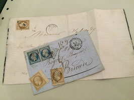 Lot de timbres émission dite Présidence référence Yvert & Tellier n°9 & 10, lettre, réimpression 1862 signé ++