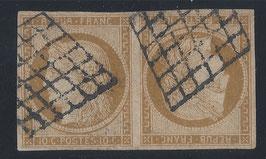 Paire de timbres tête-bêche Ceres n°1 bistre brun oblitération grille, signé
