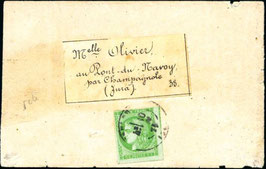 Timbre émission de Bordeaux référence Yvert & Tellier n°42B seul sur bande de journal, pour le Jura, signé Calves