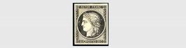 """Variété sur le 1er timbre émis par la France: timbre référence Yvert & Tellier n°3 Ceres variété """"météorite"""" sur  le C * signé"""