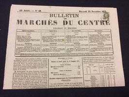 Timbre n°25 seul sur journal précurseur préoblitéré d'Issoudun 1871, RR