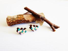 "Waben-Ohrringe aus Holz ""Golden Honeycomb"""