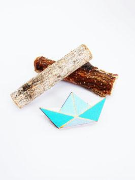 "Origami-Brosche aus Holz ""Blue Ship"""