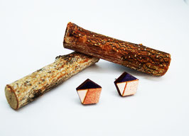 "Polygon-Ohrringe aus Holz ""Pink Gold Polygon"""