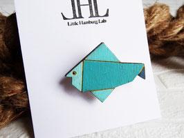 """Origami-Brosche aus Holz """"Little Fish"""""""