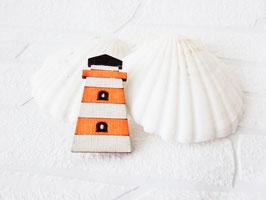 """Leuchtturm-Brosche aus Holz """"Orange Lighthouse"""""""
