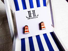 "Leuchtturm-Ohrringe aus Holz ""Little Orange Lighthouse"""