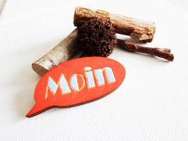 """Sprechblasen-Brosche aus Holz """"Orange Moin"""""""