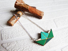 "Origamikette aus Holz ""Teal Origamiboat"""