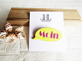 "Sprechblasen-Brosche aus Holz ""Yellow Moin"""