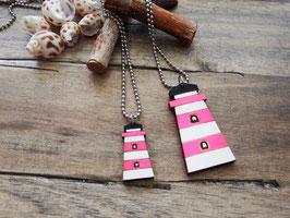 """Leuchtturm-Kette aus Holz """"Pink Lighthouse"""""""