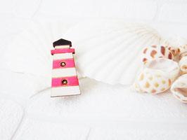 """Leuchtturm-Brosche aus Holz """"Pink Lighthouse"""""""